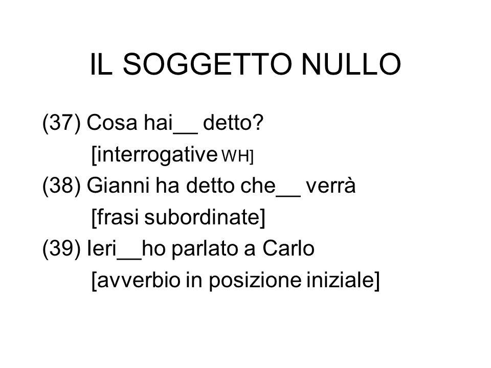 IL SOGGETTO NULLO (37) Cosa hai__ detto [interrogative WH]